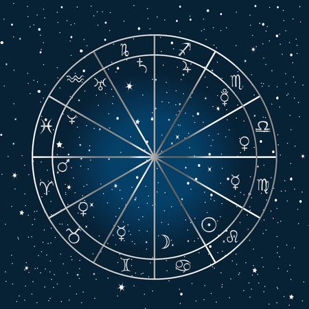 astrologie: Astrologie Hintergrund mit Sternzeichen und Planeten Symbole