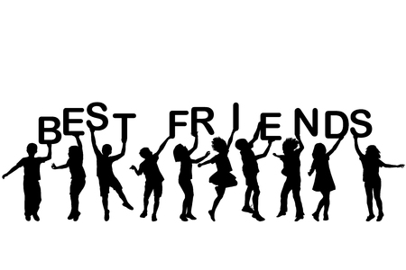 friend: Children silhouettes holding letters building the words BEST FRIENDS