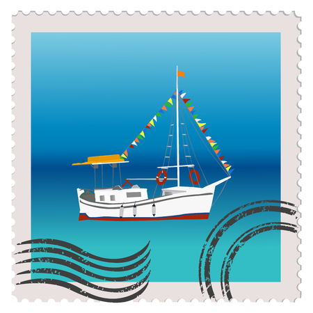 masts: Illustration of a postage stamp with sailing ship with colorful bunting strung across the masts Illustration