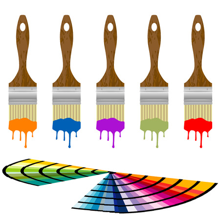 color samples: Color samples and set of paintbrushes over white background