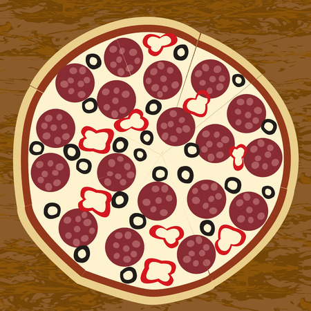 salami: Salami pizza on wooden table background