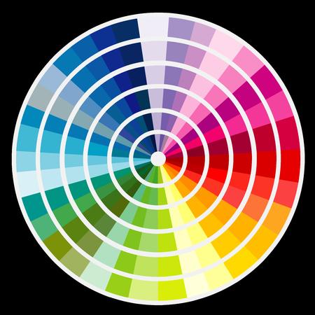 chromatic colour: Color round palette samples on black background