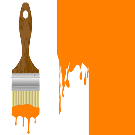 painted wall: Paintbrush with dripping orange paint isolated over an orange painted wall