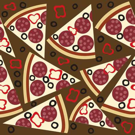 melted cheese: Seamless pattern with slices of salami pizza