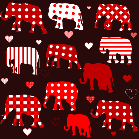 patterned: Seamless background with patterned elephants and hearts
