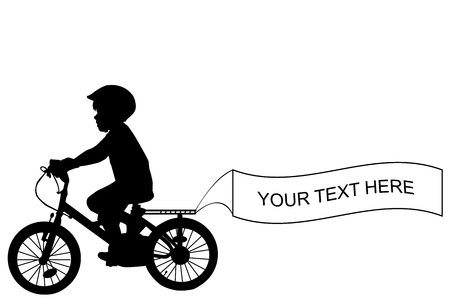cyclist silhouette: Kid silhouette riding a bike and holding a banner with place for sample text Illustration
