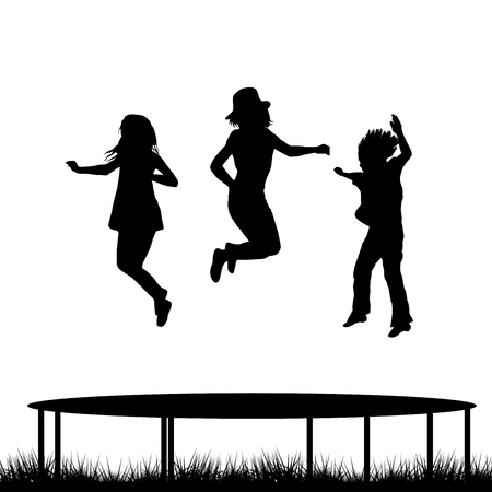 woman jump: Children silhouettes jumping on garden trampoline