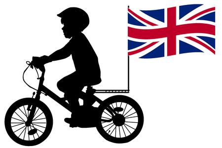niños negros: Una silueta niño monta una bicicleta con Estados Kingdomflag
