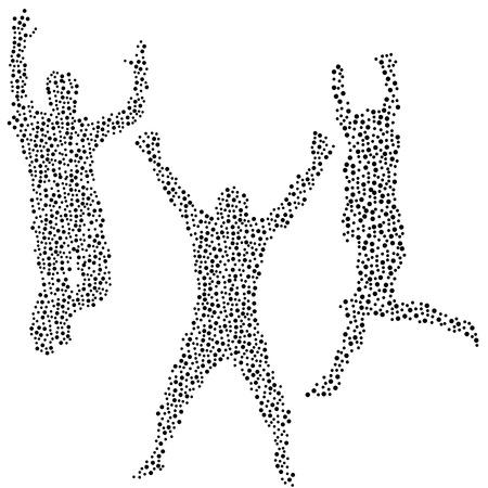 three men: Dots silhouettes of three men jumping Illustration