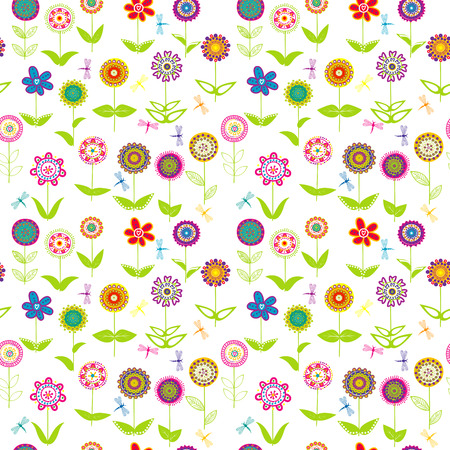whimsical: Whimsical flowers seamless over white background