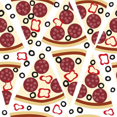 melted cheese: Seamless pattern with slices of pizza salami