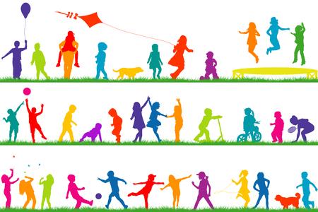 Set van gekleurde kinderen silhouetten spelen buiten Stock Illustratie