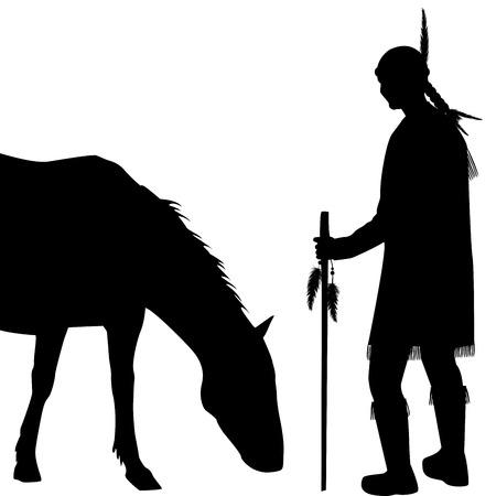 indio americano: Silueta indio americano con el caballo en el fondo blanco