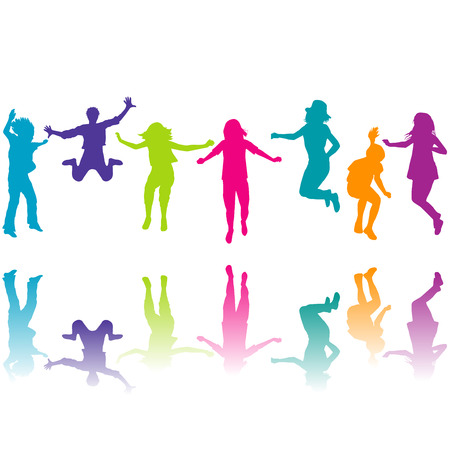 silhouettes of children: Set of colorful children silhouettes jumping on white background
