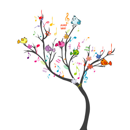 birds in tree: Happy tree with birds and musical notes