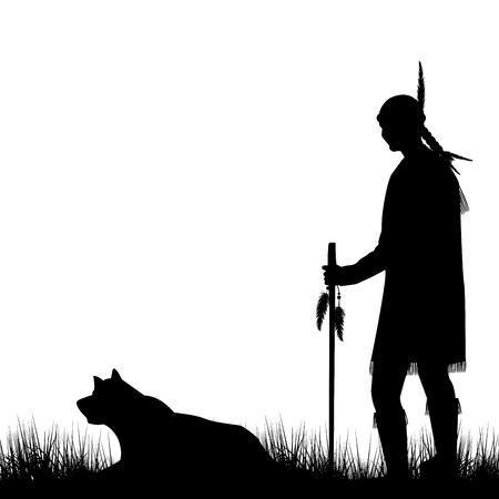 indio americano: silueta indio nativo americano con el perro