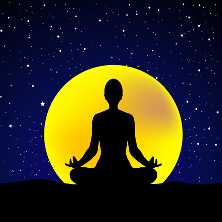 Silhouette of  young woman practicing yoga at night sky background