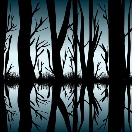 reflecting: Trees reflecting in the water