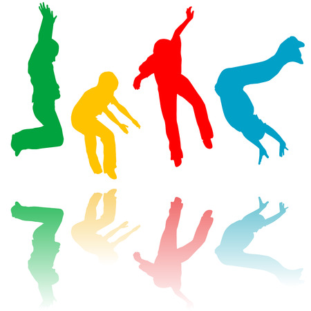many coloured: Colored children silhouettes jumping Illustration