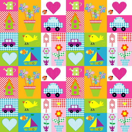 blanket fish: Gift wrapping paper seamless background for kids