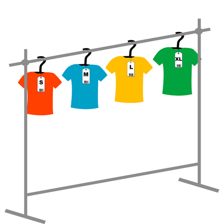 coat rack: Coat hangers with tags and T-shirts