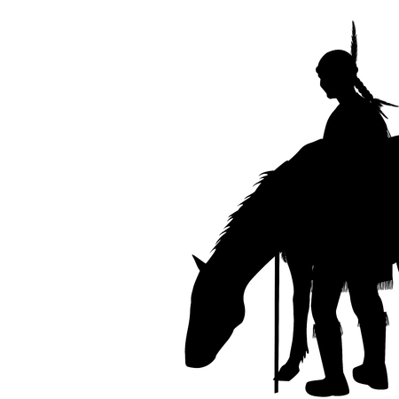 brave: Native American Indian silhouette with horse Illustration