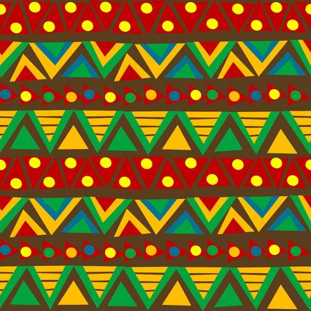 african fabric: Triangular geometric pattern in ethnic style with folk motifs