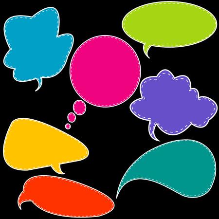 Set of colorful stitched speech bubbles