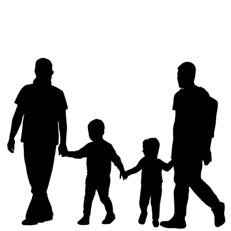 gay family: Gay family couple with children