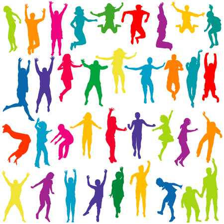 move: Silhouettes set of children and young people jumping