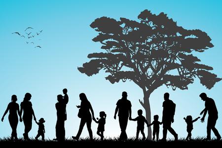 discriminacion: Las familias que caminan en el parque Vectores