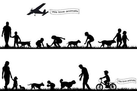 silueta humana: Las personas con los animales domésticos en el parque