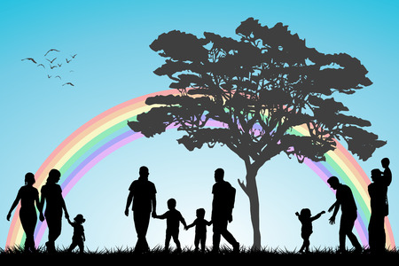 nude black girl: Same sex couples and family with children over an rainboww background
