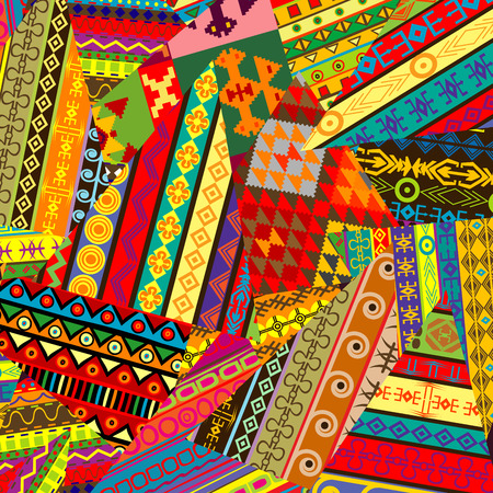 mishmash: Colorful background with ethnic ornaments patches