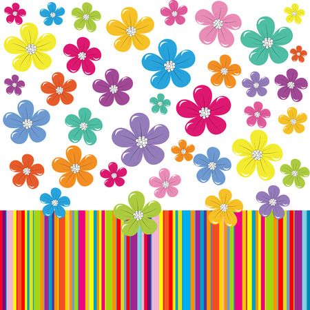 Abstract flowers on colorful stripe background