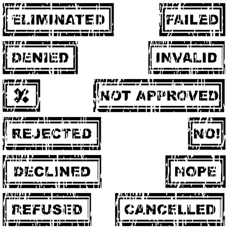 eliminated: Set of rubber stamps with messages refused, rejected, cancelled, declined, eliminated, invalid Illustration