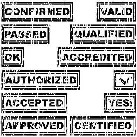 qualified: Set of rubber stamps with messages ok, qualified, accepted, approved, certified