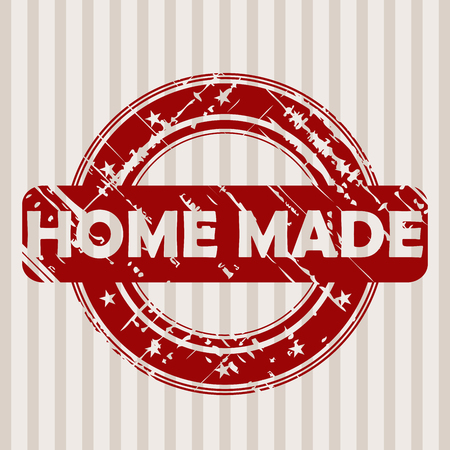 home products: Grunge red rubber stamp with HOME MADE