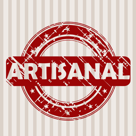 Grunge red rubber stamp with ARTISANAL