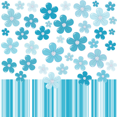 kids hand: Blue background with stylized flowers and stripes Illustration