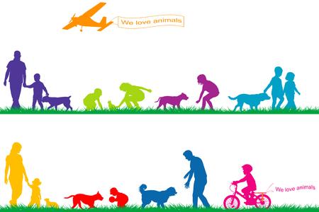 silueta niño: color siluetas de personas y animales que juegan en el parque