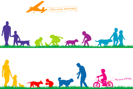 Colored silhouettes of people and animals playing in park