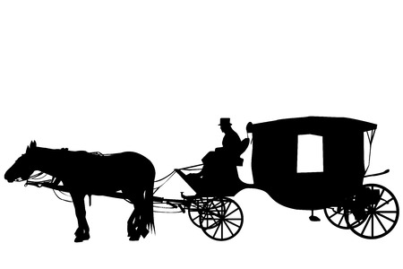 Silhouettes of a vintage carriage with coachman