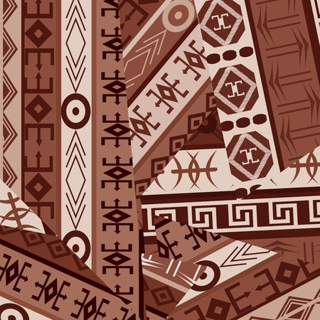 patches: Ethnic ornaments patches in brown tones Illustration