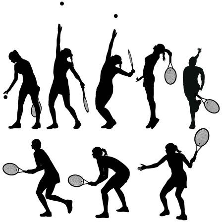 serve: Tennis players silhouettes set Illustration