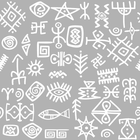 palaeolithic: Ancient symbols set seamless pattern