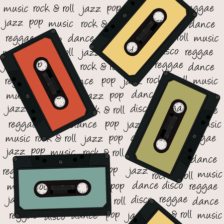 cassettes: Retro musical background with audio cassettes