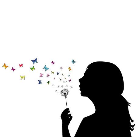 Meisje blazen op paardebloem en de zaden worden transformeren in vlinders Vector Illustratie