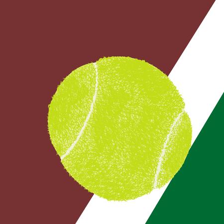 hard court: Tennis ball on a tennis court Illustration