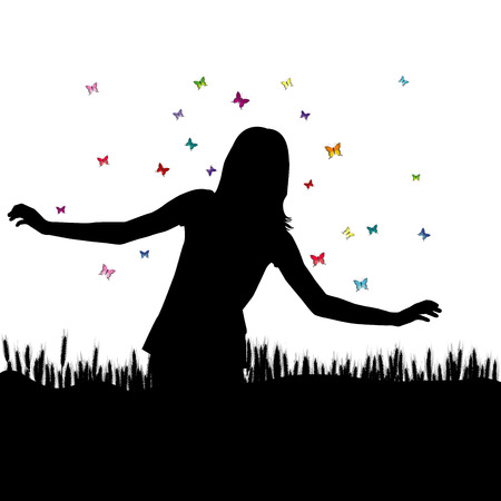 Girl playing with butterflies in wheat field